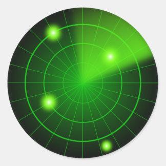 Grüner und schwarzer Radaraufkleber Runder Aufkleber