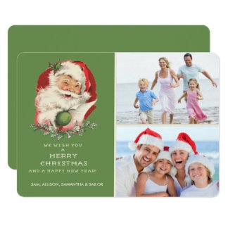 Grüner Vintager Sankt-Foto-Weihnachtsgruß 12,7 X 17,8 Cm Einladungskarte