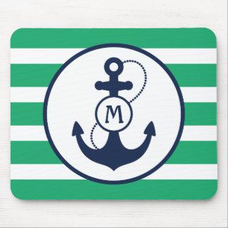 Grünes Anker-Monogramm Mousepad