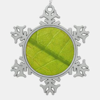 Grünes Blatt-abstrakte Natur-Fotografie Schneeflocken Zinn-Ornament