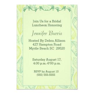 Grünes Blatt-Brautmittagessen-Einladung 12,7 X 17,8 Cm Einladungskarte