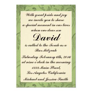 Grünes Blumen-Bar Mitzvah/Geburtstags-Einladung Karte