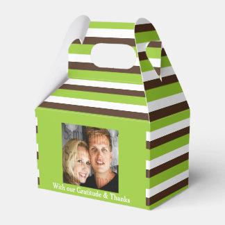 Grünes braunes Hochzeit FOTO 2 Geschenkkartons