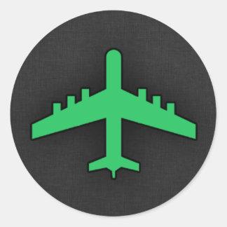 Grünes Flugzeug Kelly Runder Aufkleber