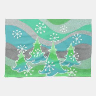 Grünes Geschirrtuch der Winter-Bäume Handtuch