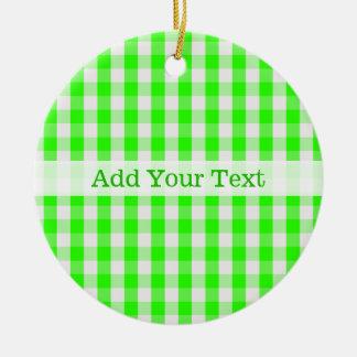 Grünes Gingham-Neonmuster durch Shirley Taylor Rundes Keramik Ornament