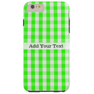 Grünes Gingham-Neonmuster durch Shirley Taylor Tough iPhone 6 Plus Hülle