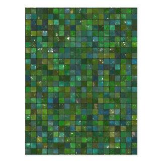 Grünes glänzendes Smaragdglas deckt Postkarte