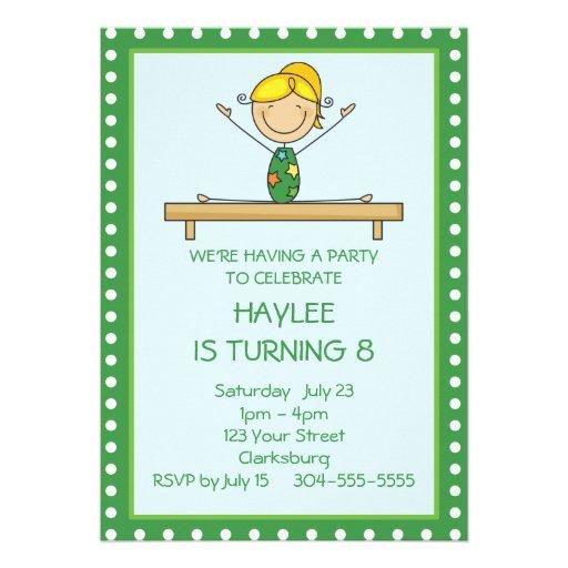 Grünes Gymnastik-Geburtstags-Party Personalisierte Ankündigung