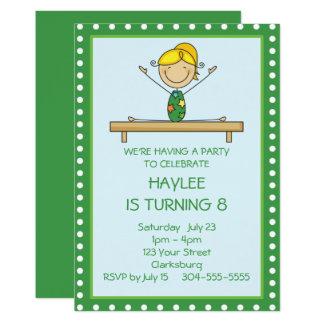 Grünes Gymnastik-Geburtstags-Party Karte