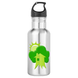 Grünes Haus Trinkflasche