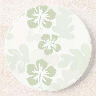 Grünes Hibiskus-Blumen-Muster Sandstein Untersetzer