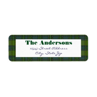 Grünes kariertes - Adressen-Etikett Rückversand-Adressaufkleber