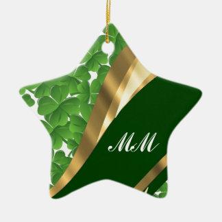 Grünes Kleeblattmuster Keramik Stern-Ornament