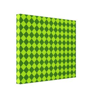 Grünes Kombinations-Diamant-Muster Gespannte Galeriedrucke