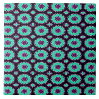 grünes lila extravagantes Kreismuster Große Quadratische Fliese