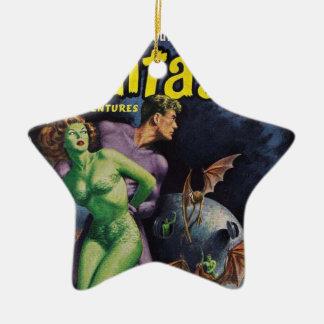 Grünes Mädchen gegen Enten-Schläger Keramik Stern-Ornament