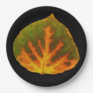 Grünes orange u. gelbes Aspen-Blatt #1 Pappteller