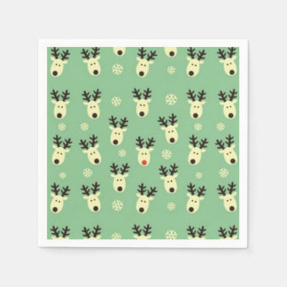 Grünes Ren-Muster-Party-Papierservietten Serviette