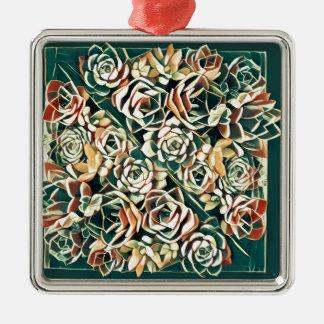 grünes saftiges Quadrat Quadratisches Silberfarbenes Ornament