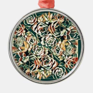 grünes saftiges Quadrat Rundes Silberfarbenes Ornament
