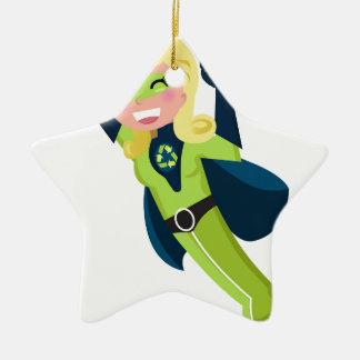 Grünes Superheldmädchen Keramik Stern-Ornament