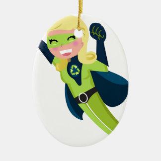 Grünes Superheldmädchen Ovales Keramik Ornament
