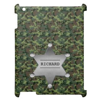 Grünes Tarnungs-Muster-Sheriff-Namen-Abzeichen iPad Hülle
