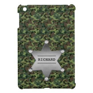 Grünes Tarnungs-Muster-Sheriff-Namen-Abzeichen iPad Mini Hülle