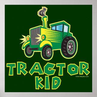 Grünes Traktor-Kind Poster