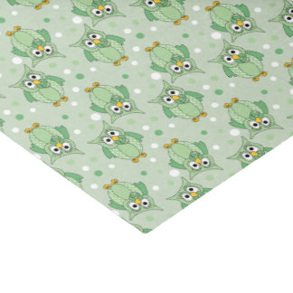 Grünes Tupfen-Baby-Eulen-Muster Seidenpapier