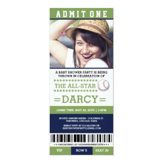 Grünes und blaues Baseball-Baby-Duschen-Party lädt 10,2 X 23,5 Cm Einladungskarte