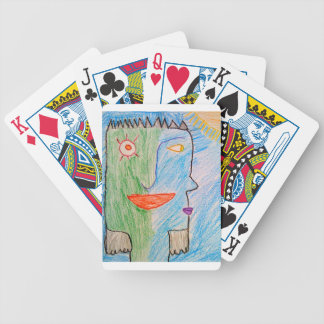 grünes und blaues Gesicht Spielkarten