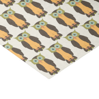 Grünes und gelbes Eulen-Seidenpapier Seidenpapier