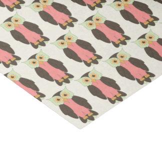Grünes und rosa Eulen-Seidenpapier Seidenpapier