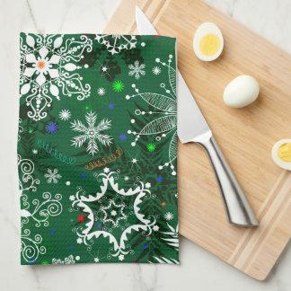 Grünes Weihnachtsschneeflocke-Muster-Geschirrtuch Handtücher