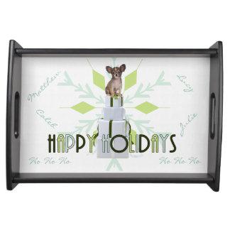 Grünes WeihnachtsServiertablett Papillon Hund| Tablett