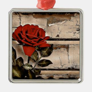 Grunge beunruhigte Scheunen-hölzerne rustikale Quadratisches Silberfarbenes Ornament