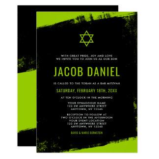 Grunge-Limone grüne schwarze Bar Mitzvah Karte