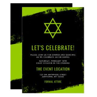 Grunge-Limoner grüner schwarzer Bar Mitzvah Karte