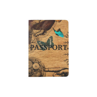 Grunge Steampunk viktorianischer Schmetterling Passhülle