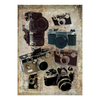 Grungephotograph-Fotografie Vintage Kamera Poster
