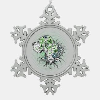 Grünliche Deutsche Dogge Schneeflocken Zinn-Ornament