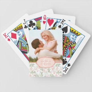 Grünu. Rosabotanischer Watercolor - Hochzeits-Foto Pokerkarten