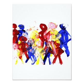 Gruppe der stehenden StrichmännchenFingermalerei 10,8 X 14 Cm Einladungskarte