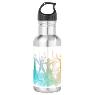 Gruppe Freunde, die für Freude im Aquarell Edelstahlflasche