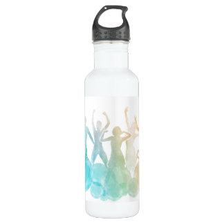 Gruppe Freunde, die für Freude im Aquarell Trinkflaschen