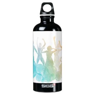 Gruppe Freunde, die für Freude im Aquarell Wasserflaschen