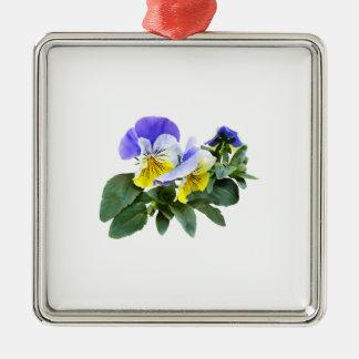 Gruppe gelbes und lila Stiefmütterchen Silbernes Ornament