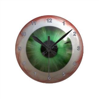 Gruselige grüne Augapfel-Halloween-Spaß-Uhr Runde Wanduhr
